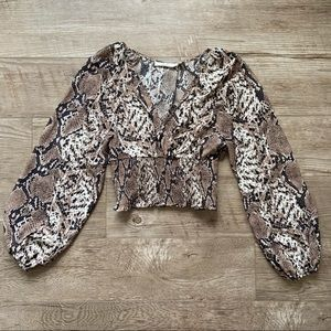 Envy Snake Print Cropped Long Sleeve Top size S